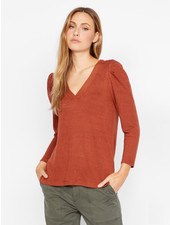 Sanctuary Clothing 'Hanna' Pleated Sleeve Top in Autumn Rust