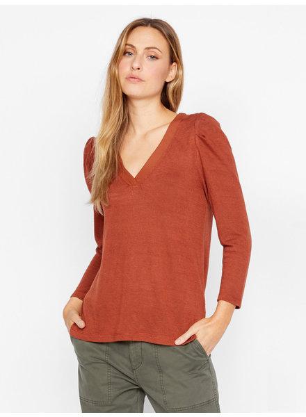 Sanctuary Clothing 'Hanna' Pleated Sleeve Top in Autumn Rust