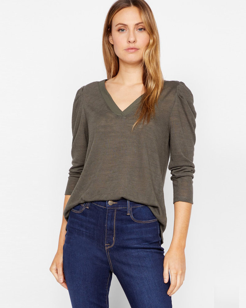 Sanctuary Clothing Sanctuary Clothing 'Hanna' Pleated Sleeve Top in Forest Green