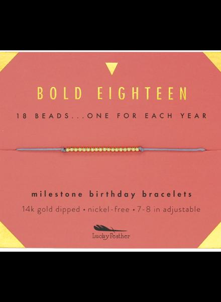 Lucky Feather Milestone Birthday 'Bold Eighteen' Bracelet
