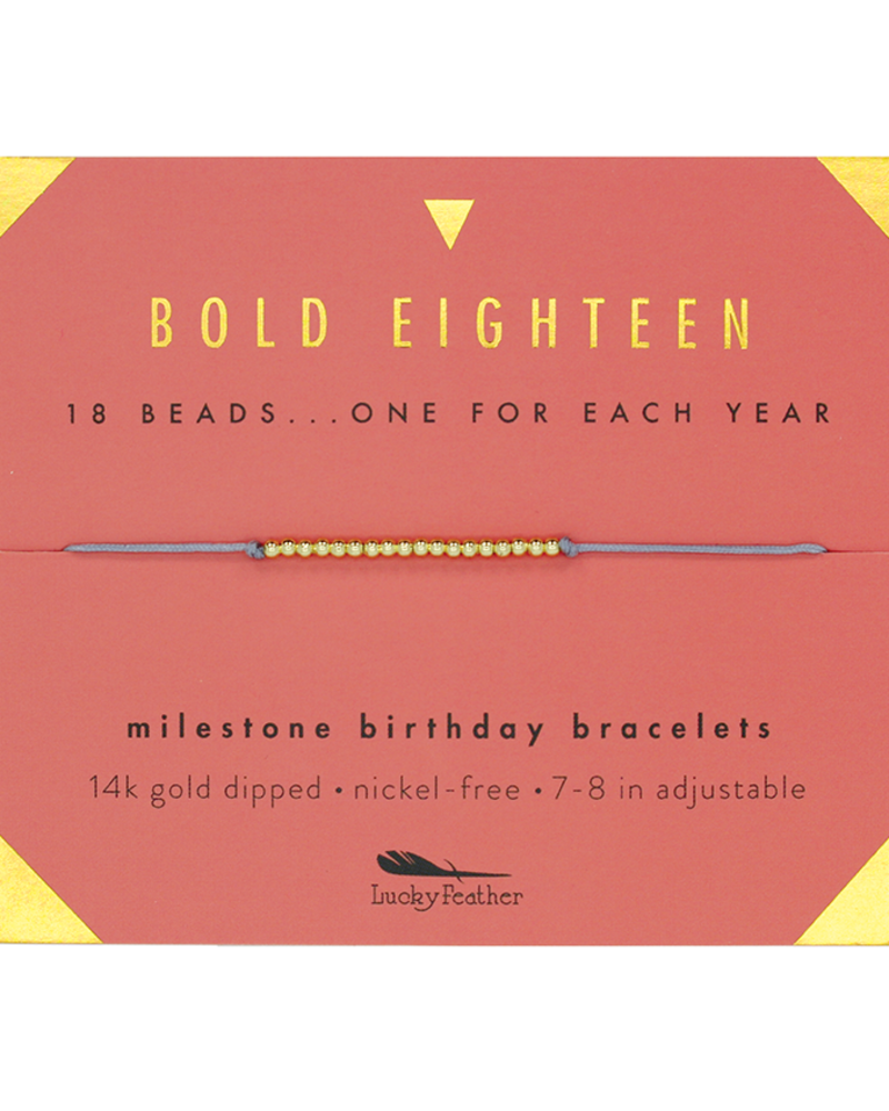 Lucky Feather Lucky Feather Milestone Birthday 'Bold Eighteen' Bracelet