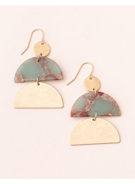 Scout Curated Wears Aqua Terra & Gold Stone Half Moon Earrings