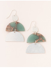 Scout Curated Wears Aqua Terra & Silver Stone Half Moon Earrings