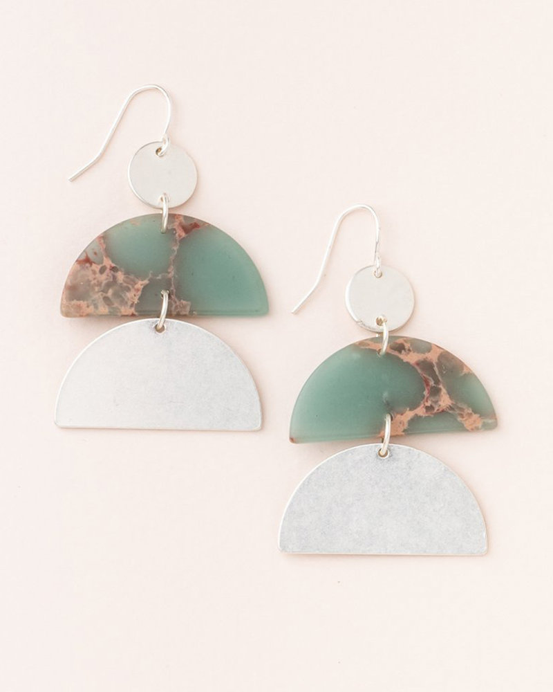 Scout Curated Wears Scout Aqua Terra & Silver Stone Half Moon Earrings