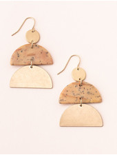 Scout Curated Wears Petrified Wood & Gold Stone Half Moon Earrings