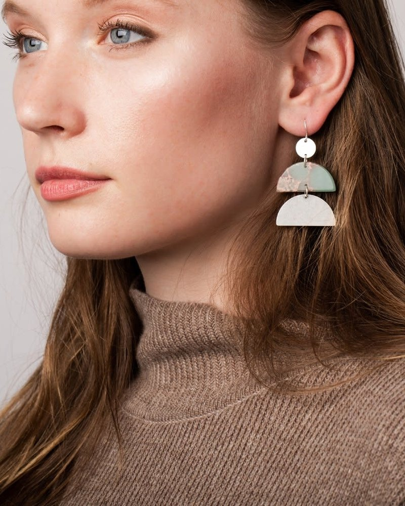 Scout Curated Wears Scout Petrified Wood & Gold Stone Half Moon Earrings