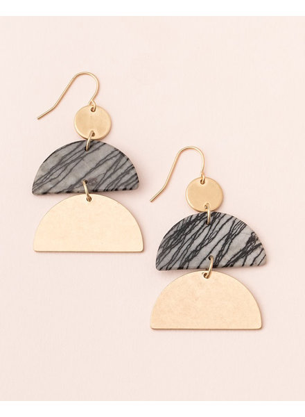 Scout Curated Wears Picasso Jasper & Gold Stone Half Moon Earrings