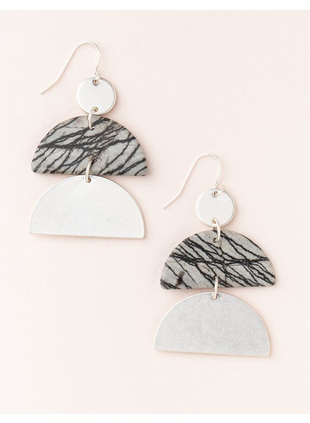 Scout Curated Wears Picasso Jasper & Silver Stone Half Moon Earrings