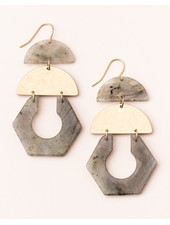 Scout Curated Wears Labradorite & Gold Stone Cutout Earrings