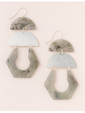 Scout Curated Wears Labradorite & Silver Stone Cutout Earrings