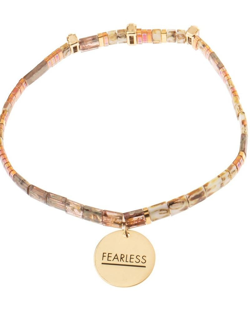 Scout Curated Wears Scout Good Karma Miyuki Charm Bracelet - Fearless in Tortoise/Sparkle/Gold