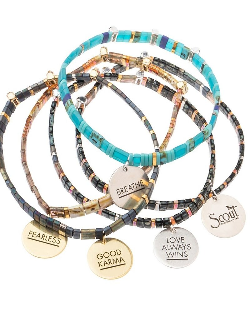 Scout Curated Wears Scout Good Karma Miyuki Charm Bracelet - Good Karma in Oil Slick/Sparkle/Gold
