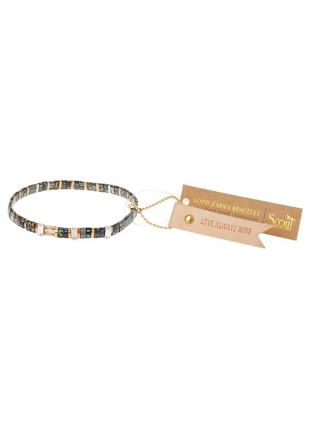 Scout Curated Wears Good Karma Miyuki Charm Bracelet - Love Always Wins in Eclipse/Sparkle/Gold