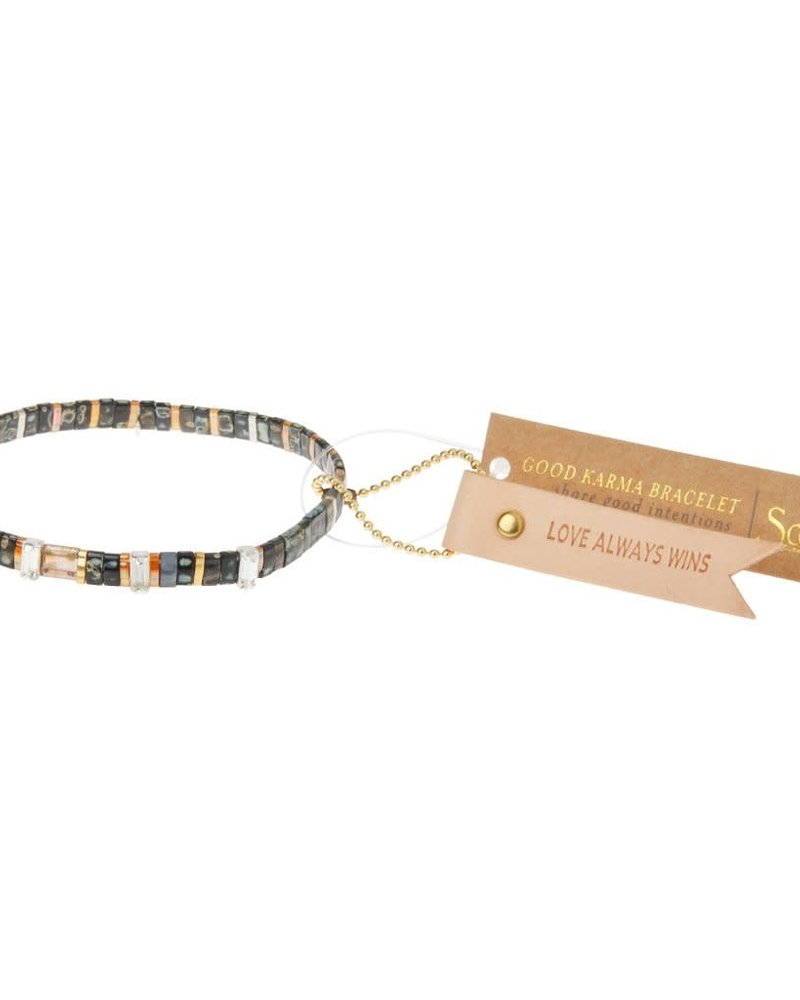 Scout Curated Wears Scout Good Karma Miyuki Charm Bracelet - Love Always Wins in Eclipse/Sparkle/Gold