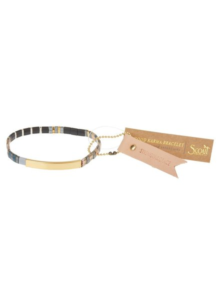 Scout Curated Wears Good Karma Miyuki Bracelet - Strength & Grace in Gunmetal/Gold