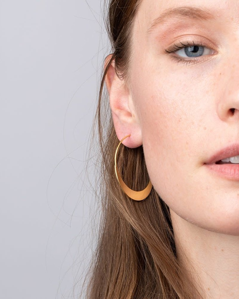 Scout Curated Wears Scout Refined Collection Crescent Hoop Earrings in 18K Gold Vermeil