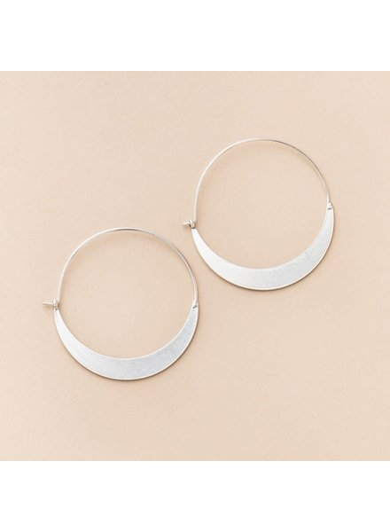 Scout Curated Wears Crescent Hoop Earrings in Sterling Silver