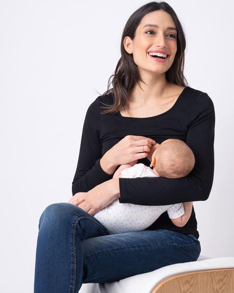 Seraphine Maternity Seraphine Maternity Black 'Laina' Long Sleeve Nursing Tee