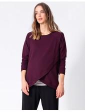 Seraphine Maternity Black Cherry 'Sybil' Front Wrap Sweatshirt