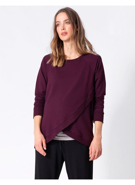 Seraphine Maternity Black Cherry 'Sybil' Front Wrap Sweater