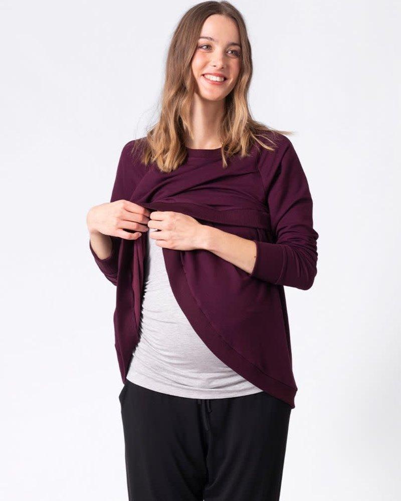 Seraphine Maternity Seraphine Maternity Black Cherry 'Sybil' Front Wrap Sweatshirt