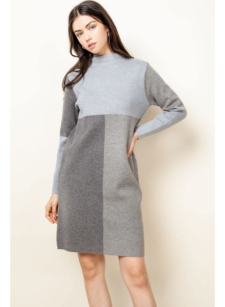 THML Grey 'Take Me Back In Time' Sweater Dress
