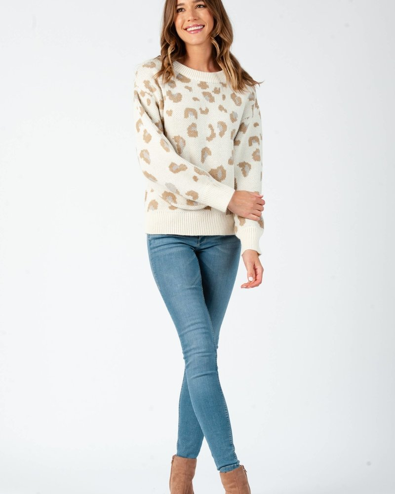 Lucca Couture Lucca 'Leaping Into Fall' Leopard Print Sweater