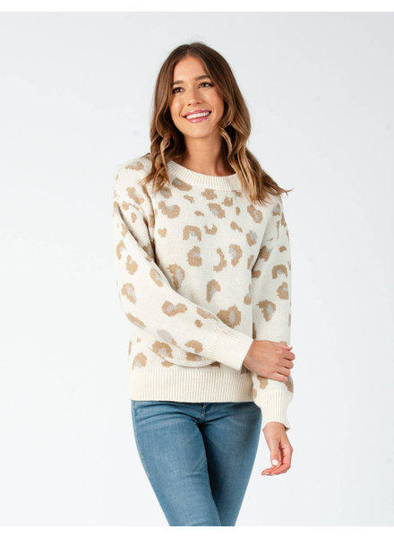 Lucca Couture 'Leaping Into Fall' Leopard Print Sweater