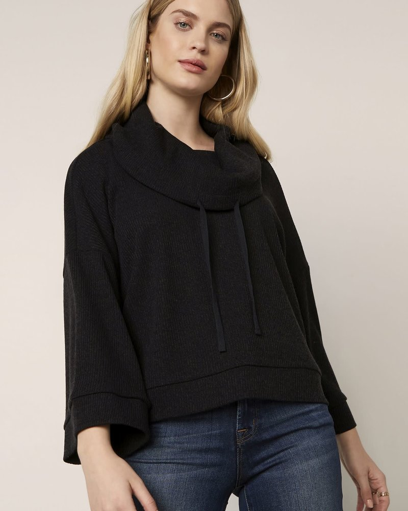 BB Dakota BB Dakota Black 'Rib It Up' Cowl Neck Top