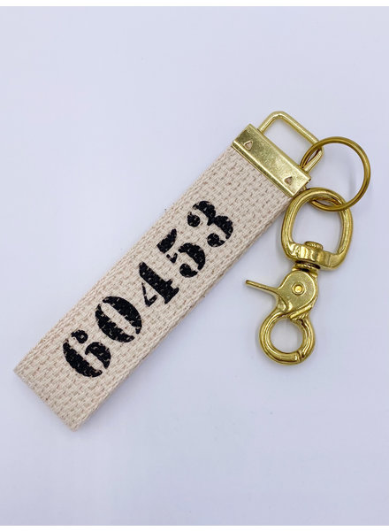 Marshes, Fields & Hills by Rustic Marlin Zip Code Canvas Keychain | 60453 in Black