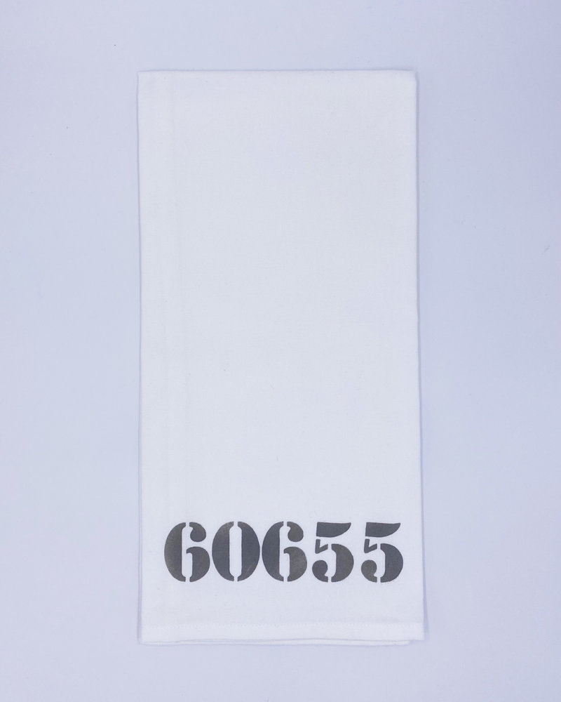 Rustic Marlin Marshes Fields & Hills Personalized Zip Code Tea Towel   60655