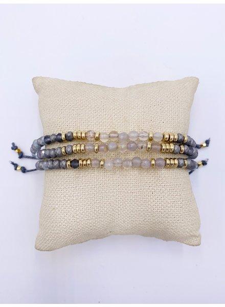 3 Layer Gem & Block Pull Cold Bracelet