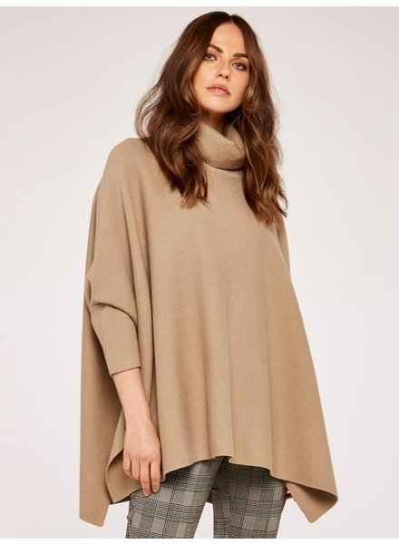 Apricot 'Cuddle Ready' Turtleneck Poncho