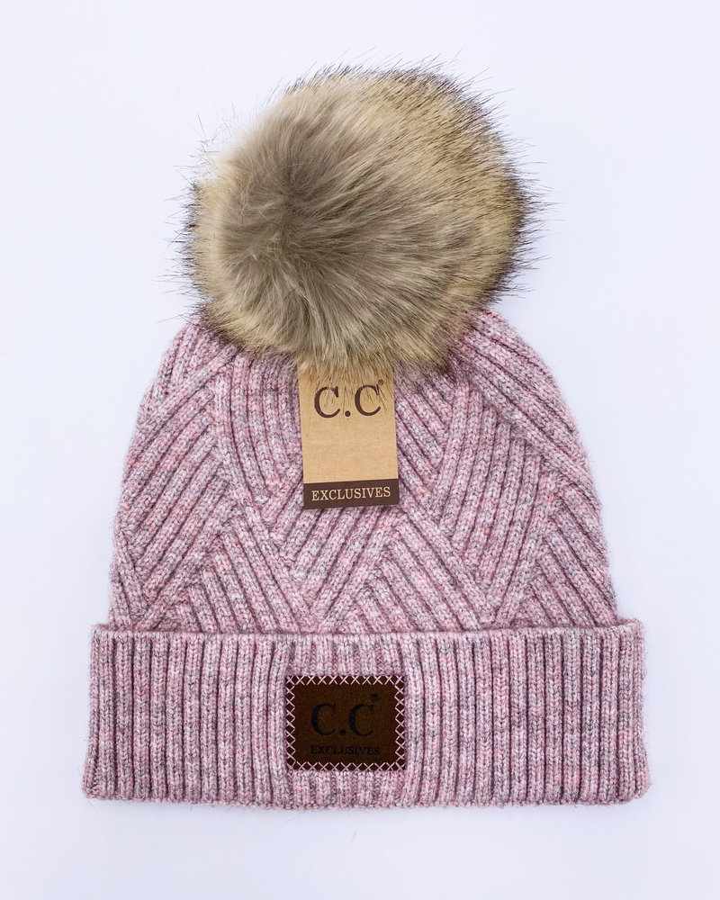 CC Melange Beanie with Pom Hat