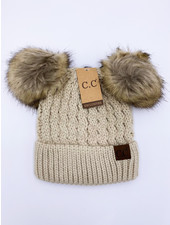 Ribbed Beanie with Double Pom Hat **FINAL SALE**