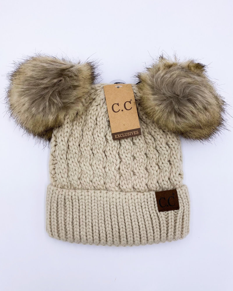 CC Ribbed Beanie with Double Pom Hat
