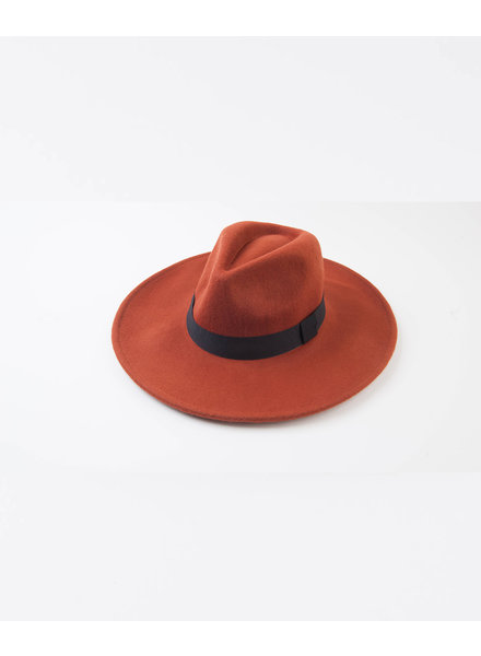 Lucca Couture Rust Wool Fedora