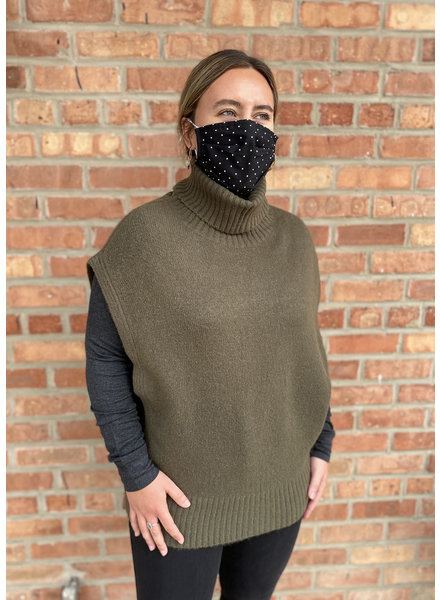 RD Style 'Add An Olive To It' Sleeveless Turtleneck Sweater