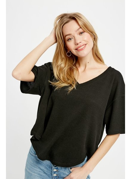 Wishlist Black 'Donna' Oversized Thermal Top