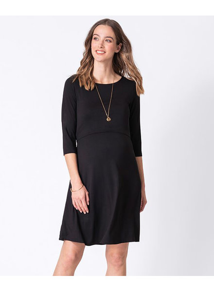 Seraphine Maternity Black 'Una' Maternity/Nursing Skater Dress