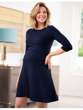 Seraphine Maternity Navy 'Una' Maternity/Nursing Skater Dress