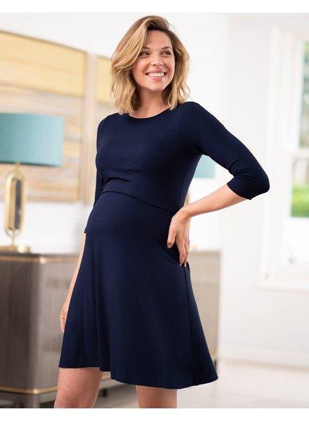 Seraphine Maternity Navy 'Una' Maternity/Nursing Skater Dress