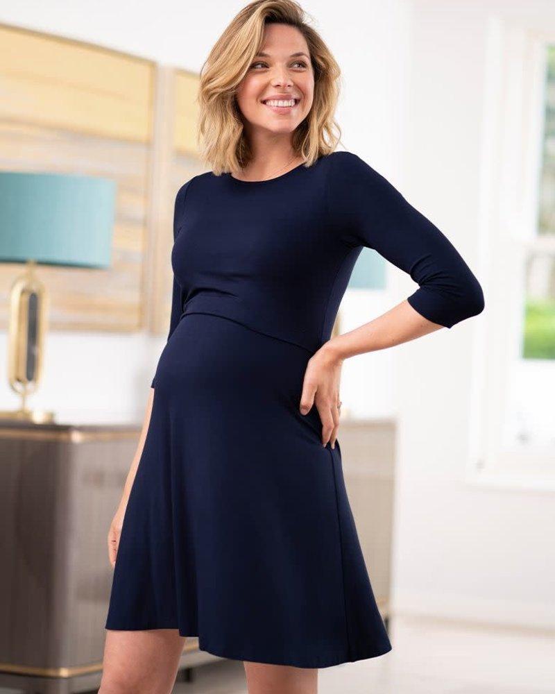 Seraphine Maternity Seraphine Navy 'Una' Maternity/Nursing Skater Dress