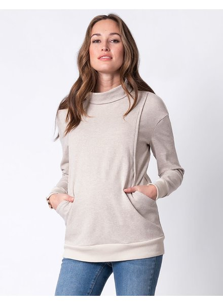 Seraphine Maternity Oatmeal 'Dina' Maternity/Nursing Sweatshirt