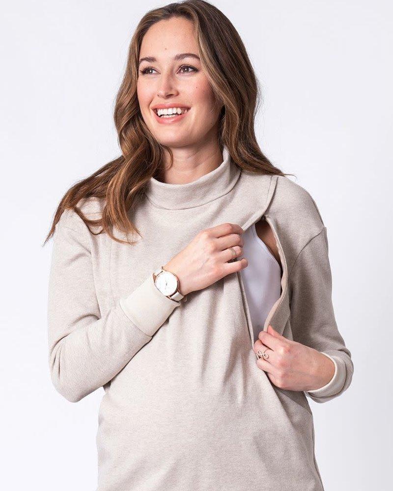 Seraphine Maternity Seraphine Oatmeal 'Dina' Maternity/Nursing Sweatshirt