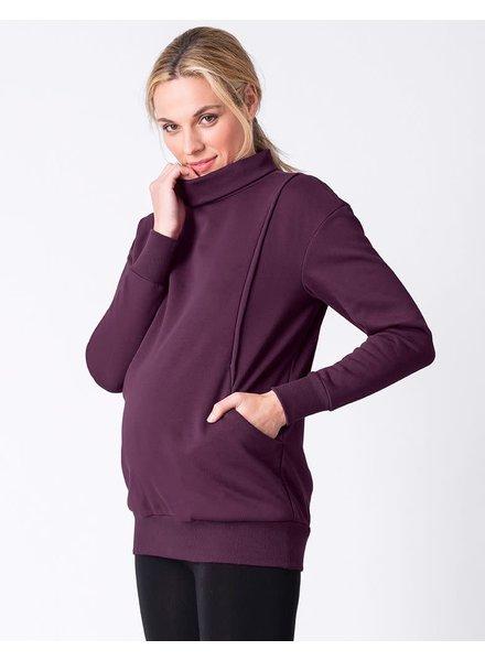 Seraphine Maternity Black Cherry 'Dina' Maternity/Nursing Sweatshirt