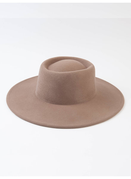 Lucca Couture 'Vera' Wool Boater Hat in Khaki