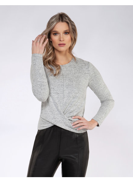 Black Tape 'Just a Brush of Grey' Twist Front Top