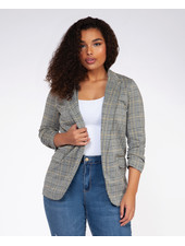 Dex Plus 'Check Please' Ruched Sleeve Plus Blazer **FINAL SALE**
