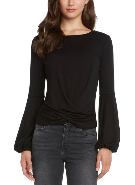 Willow & Clay Black Twist Wrap Top